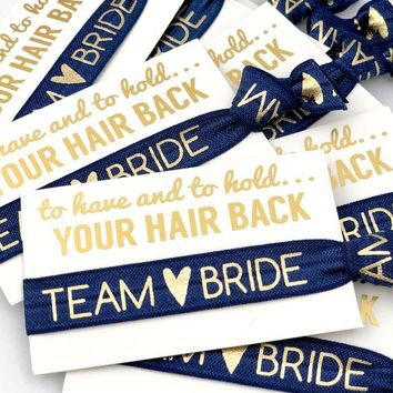 NAVY Team Bride Bachelorette Party Favor | Hair Tie Favors, Gold Team Bride, Survival Kit , To Have and To Hold Your Hair Back, White Card