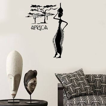 Wall Decal Africa African Woman Female Vinyl Stickers Art Mural Unique Gift (ig2540)