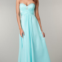 Long Mint Strapless Prom Dress
