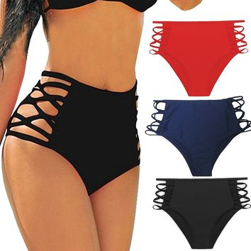 cross1946 Sexy Women's Bikini Retro High Waisted Strappy Brief Bottom Solid Tankini Swimsuit