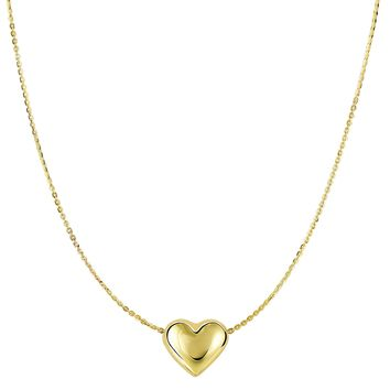 """14k Yellow Gold Sliding Puffed Heart Pendant Necklace, 18"""""""