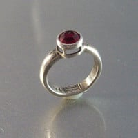 Vintage Sterling Garnet Ring, Designer Signed Raised Bezel Setting Modernist