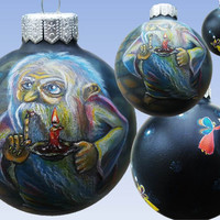 CUSTOM  Christmas Ornaments, Hand Painted Christmas ball, Glass Christmas Ornament, New year, Christmas Craft, Gift Magic Fairy Аerography