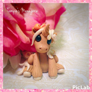 Adorable Unicorn custom polymer clay Miniature Carrot Cake Dessert pony horse figurine by Tempies Menagerie