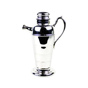 Art Deco Cocktail Shaker, Silver Plate, Vintage Viking Canada