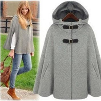 UK Brand Poncho 2017 Autumn Spring Gossip Girl Grey Black Hooded Cape Coat  Women Cloak Casacos Femininos manteau femme
