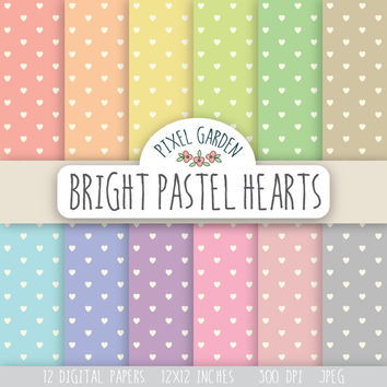 SALE -50% OFF. Pastel Hearts Pattern Digital Paper Pack. Heart Print Scrapbooking Paper. Valentine's Day Digital Collage Sheets.