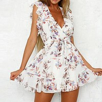 Vintage Floral Print Short Dress Women Elegant V Neck Party Dress Sexy Backless Holiday Dress