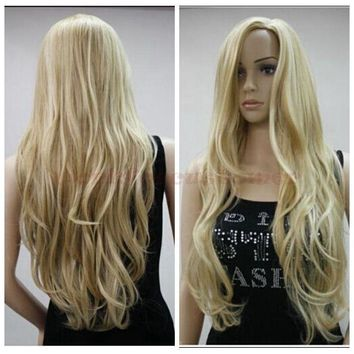 Mix Blonde Long Wavy Heat Resistant Cosplay Wig LIKE Natural HUMAN HAIR
