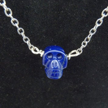 Carved Blue Lapis Lazuli Stone Skull Necklace Silver Chain Bead Necklace Fall Necklace Carved Stone Skull Blue Skull Jewelry FREE SHIPPING