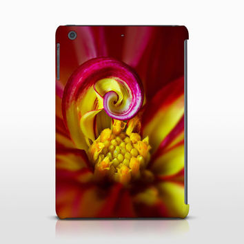 Red Dahlia Flower Tablet Cover, Floral Decor, Macro Photography, Apple iPad Case, Samsung Galaxy Cases