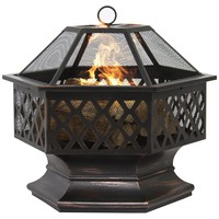 Hex Shaped Backyard Fire Pit Fireplace