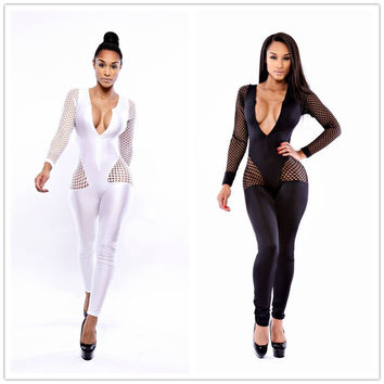 R70086 New style and free shipping overalls women palazzo pants jumpsuit deep v-neck black and white on sale pants jumpsuit
