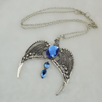 Blue Crystal Necklace Jewelry Vintage look.  Silver Plated Eagle Bird Animal Pendant Necklace with Crystal Rhinestone. Great Gift.