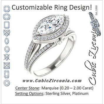 Cubic Zirconia Engagement Ring- The Hanna Jo (Customizable High-set Marquise Cut Design with Halo, Wide Tri-Split Pavé Band and Round Bezel Peekaboo Accents)