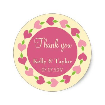Pink Heart Wreath Wedding Favor Round Sticker