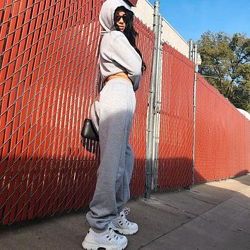 Women Casual Personality Letter Print High Waist Leisure Pants Trousers Sweatpants