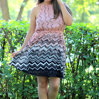 Abstract Chevron Dress in Peach/White/Black