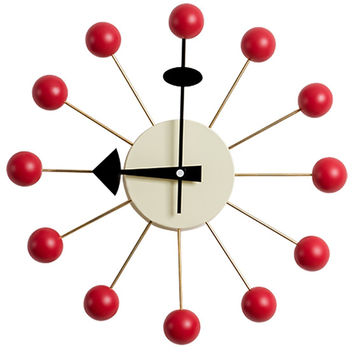 Ball Clock in Red, George Nelson Designed Antique Retro Wall Clock