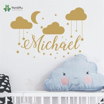 Name Wall Decal Baby Nursery Custom Name Bedroom Clouds Moon Decor Wall Sticker DIY Children Decoration Room Wall Mural NY-440
