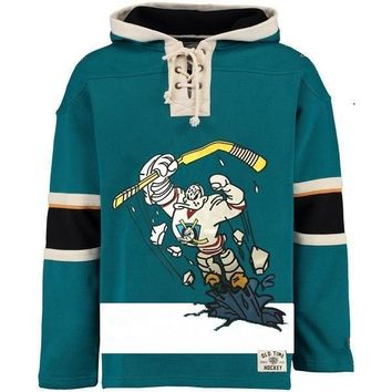 ca auguau Mighty Ducks  Style Green Sweatshirt
