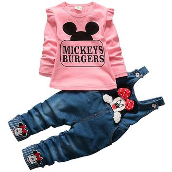 Trendy Infant baby girls Minnie children jeans trousers clothing sets Hello Kitty tops t shirt denim blet pants suit kids tracksuit AT_94_13