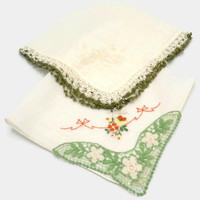 Crochet Edge Floral  Butterfly Embroidered Hankies Set Of Two Green Yellow  And Orange On Ivory White