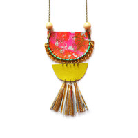 Neon Statement Necklace, Wood Geometric Necklace in Orange, Green and Hot Pink, Gold Leather Tassels | Boo and Boo Factory - Handmade Leather Jewelry