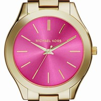 Women's Michael Kors 'Slim Runway' Bracelet Watch, 42mm - Gold/ Pink