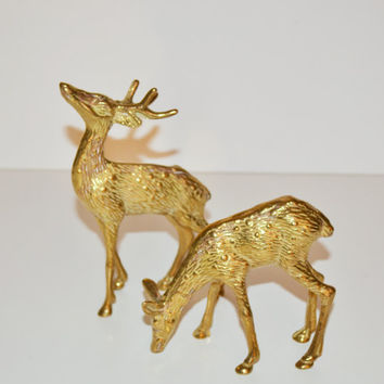 Vintage Brass Deer Figurines Reindeer Woodland Animal Figurines Pair of Brass Deer Statues