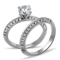 Beautiful Round Brilliant CZ Stainless Steel Wedding Ring Set