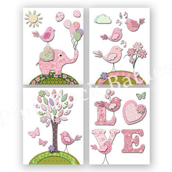 Baby girl nursery wall decor toddler art playroom decoration kids room artwork newborn gift pink elephant birds baby room poster shower gift