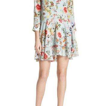 Alice + Olivia Moore Floral Silk Tunic Dress | Nordstrom