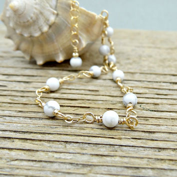 White Anklet, Turquoise Howlite Gemstone Ankle Bracelet, Dainty Gold Jewelry