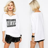 LONG LIVE ORIGINALS Graphic Printed 3/4 Sleeve White Shirt