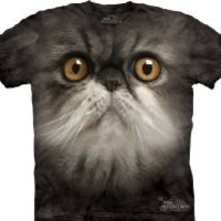 Furry Cat Face Shirt - Tie Dye Feline Tee, Small