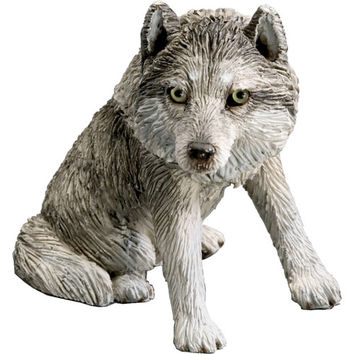 Sandicast Small Size Sitting Wolf Sculpture