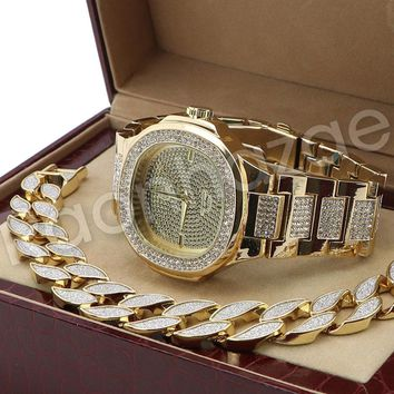 Hip Hop 14K Gold PT Iced Out Luxury Bling Gold Watch Sandblast Bracelet Set F34G