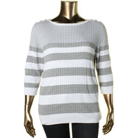 Karen Scott Womens Plus Cable Knit 3/4 Sleeves Pullover Sweater