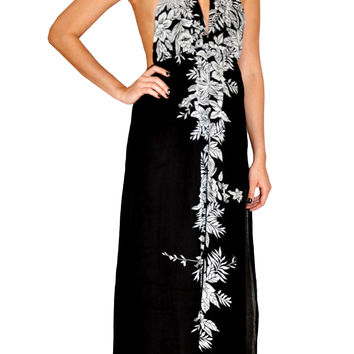 Printed Black Maxi Dress