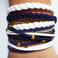Bohemian Fashion Endless Blue Suede Cord Wrap Bracelet,With Gold Accents,Handmade jewelry