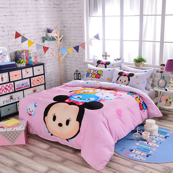 Minnie Mouse Bedding Pink Cartoon Kids Bedspreads Super Soft Cotton Duvet Cover Set Twin Queen Tsum Tsum Bed Sheet