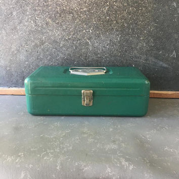 Vintage Green Metal tool, box, fold out trays, victor, tackle box, tool chest
