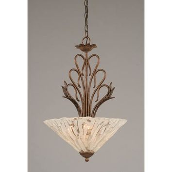 Toltec Lighting 204-BRZ-719 Swan Bronze Three-Light Bowl Pendant with Italian Ice Glass Shade