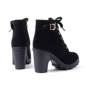 Women Platform Heel Ankle Boots Shoes for Women