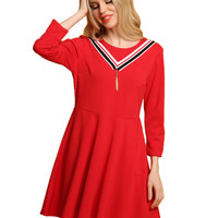 Red Contrast Stripe 3/4 Sleeve Skater Dress
