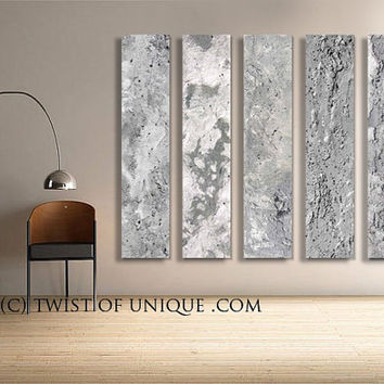 Silver Abstract Paintings, - 5 panel CUSTOM Metal Wall Art, Silver Paintings, - Steel, silver, Metal, Concrete, Stone