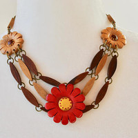 Vintage Carved Wood Flower Necklace Bib Style Red Yellow Brown Bakelite Era Retro Kitsch Late 1930's Early 1940's // Vintage Costume Jewelry