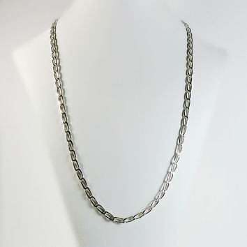 """Sterling Cable Link Necklace - Mexican Sterling Chain Necklace - Thick Silver Link Necklace - 27"""" Long Cable Link Chain"""