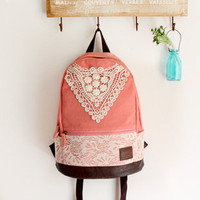 Pink Backpack with Crochet Detail